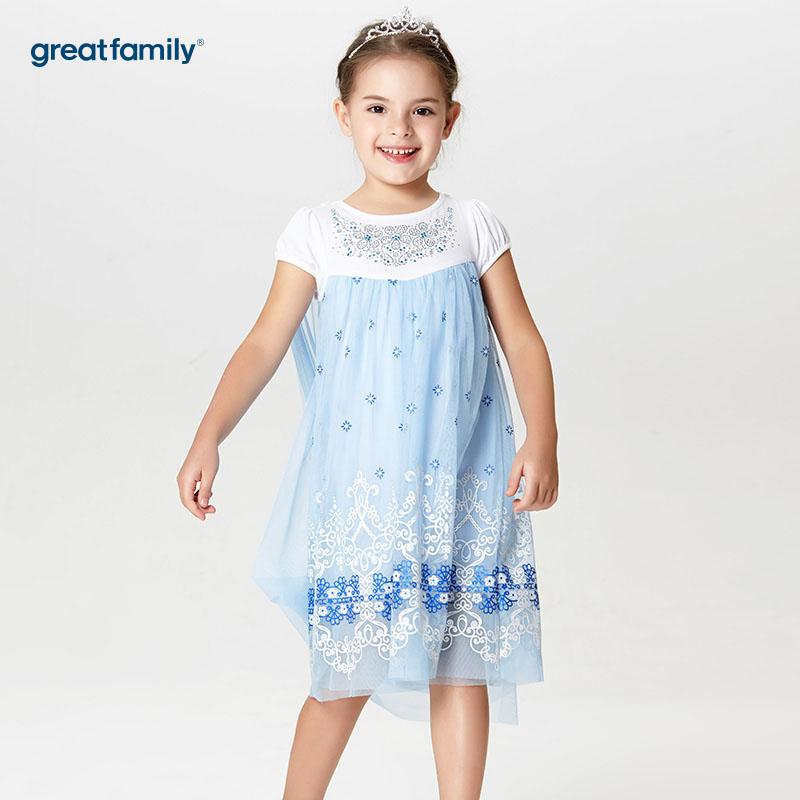歌瑞家A类可爱精灵蓝色女童针梭织拼接连衣裙