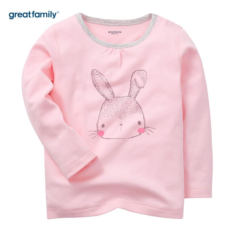 歌瑞家(Greatfamily)A类女童粉色圆领印花长袖内衣/家居裤