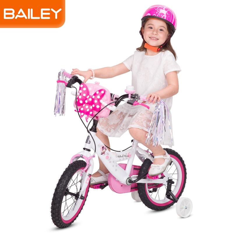 贝乐童车迪士尼系列米妮扁管白自行车14寸 白色