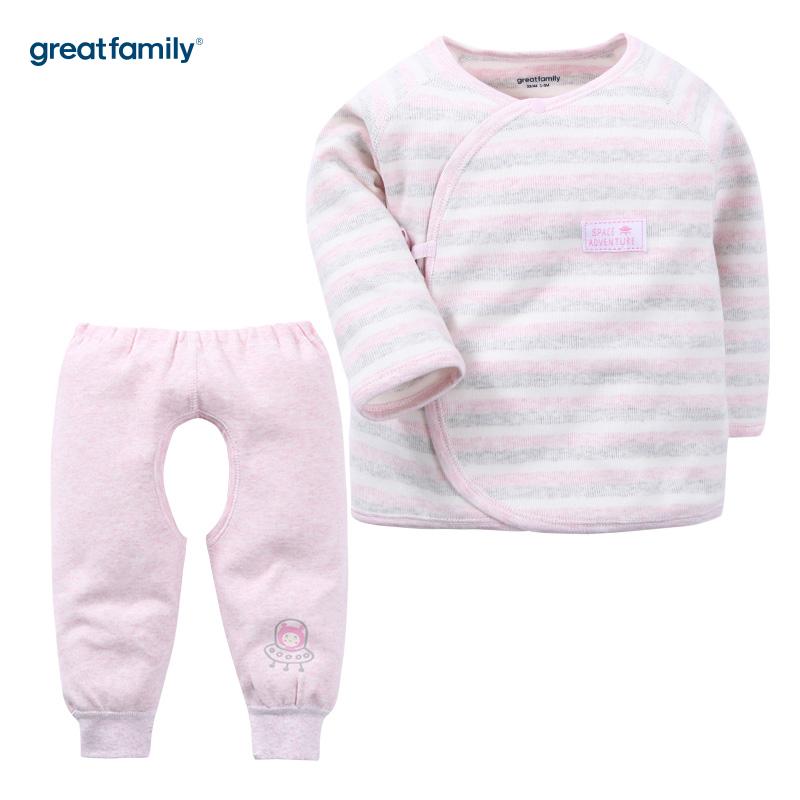 歌瑞家(Greatfamily)A类女宝宝舒绒粉色长袖和袍/和尚服/内衣/斜襟系带套装