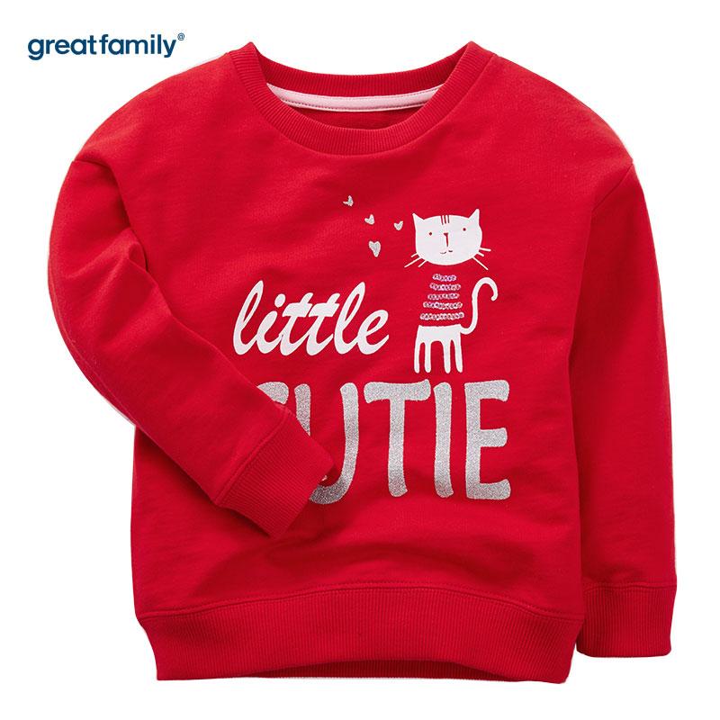 歌瑞家(Greatfamily)A类经典校园女童红色珠片亮片绣花圆领卫衣