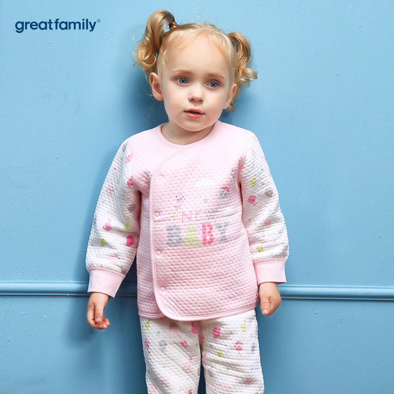 歌瑞家(Greatfamily)A类女宝宝纯棉粉色偏襟长袖上衣