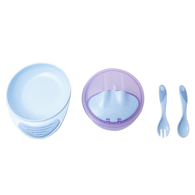 宝琪喂食防滑吸盘碗套装带勺叉PP材质带盖子