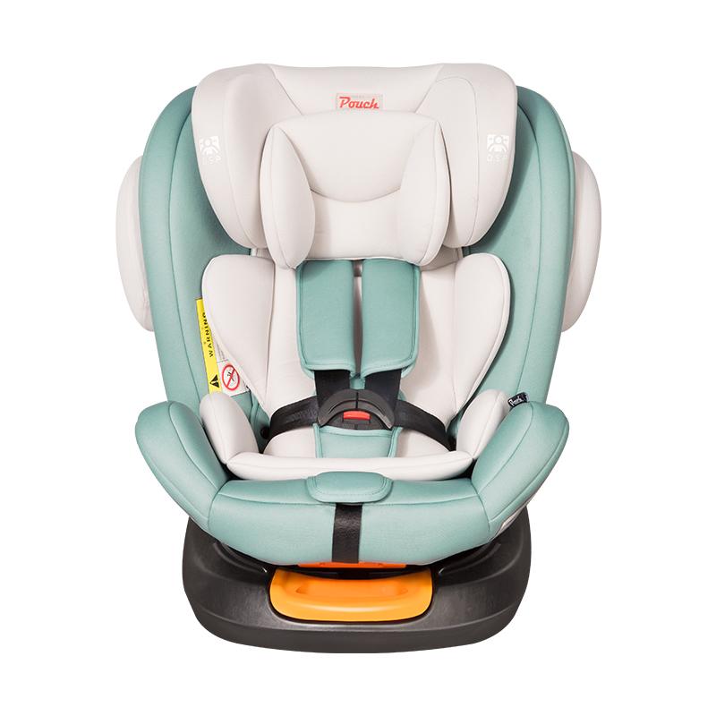 Pouch安全座椅360度旋转儿童宝宝汽座ISOFIX接口汽车用0-12岁 KS19 三代 淡蓝色