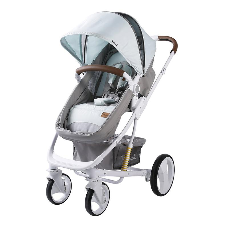Pouch婴儿高景观可坐可躺双向推车可折叠P35粉蓝
