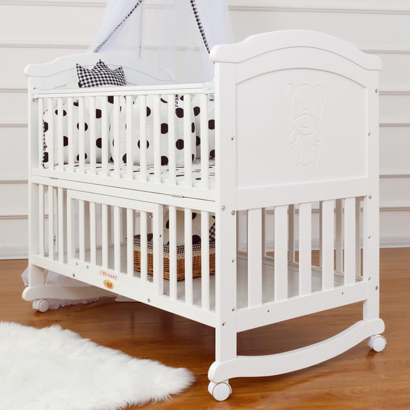 宝利源实木欧式婴儿摇床 白色