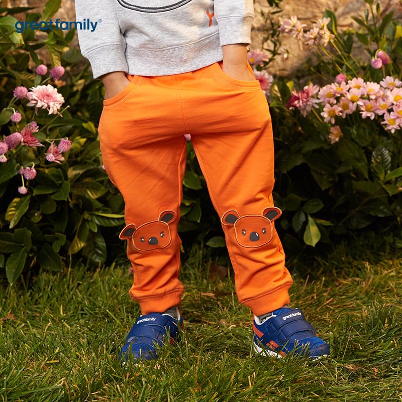 歌瑞家(婴外)A类萌动精灵橙色男卡通卫裤