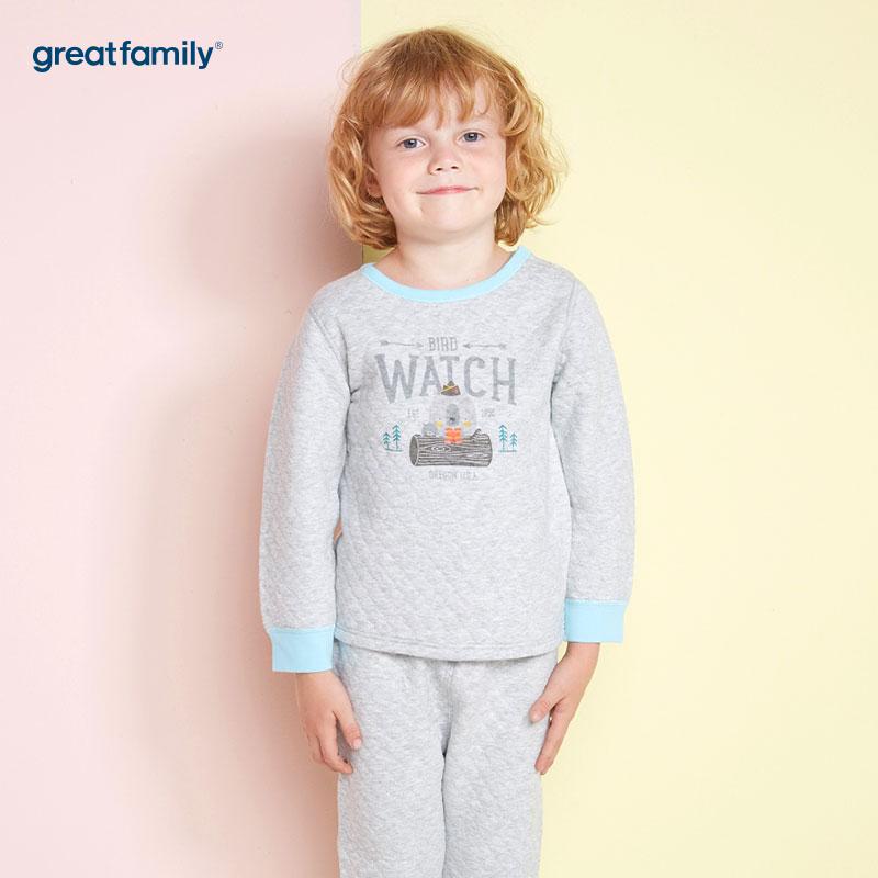 歌瑞家(Greatfamily)A类男童灰色加厚三保暖印花圆领内衣/家居服