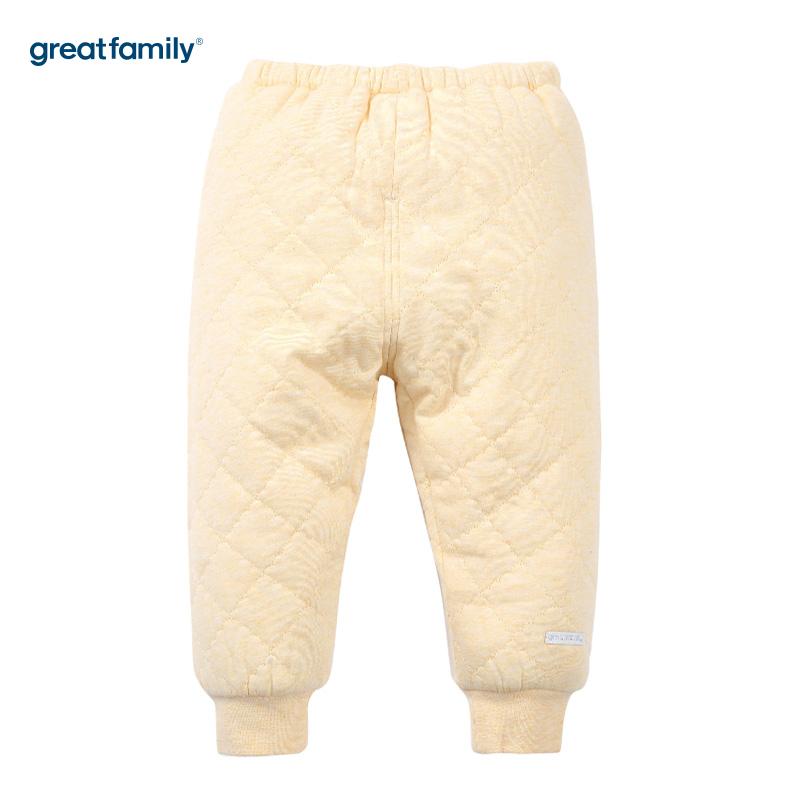 歌瑞家(Greatfamily)A类夹棉黄色开闭裆长裤男女宝宝通用款
