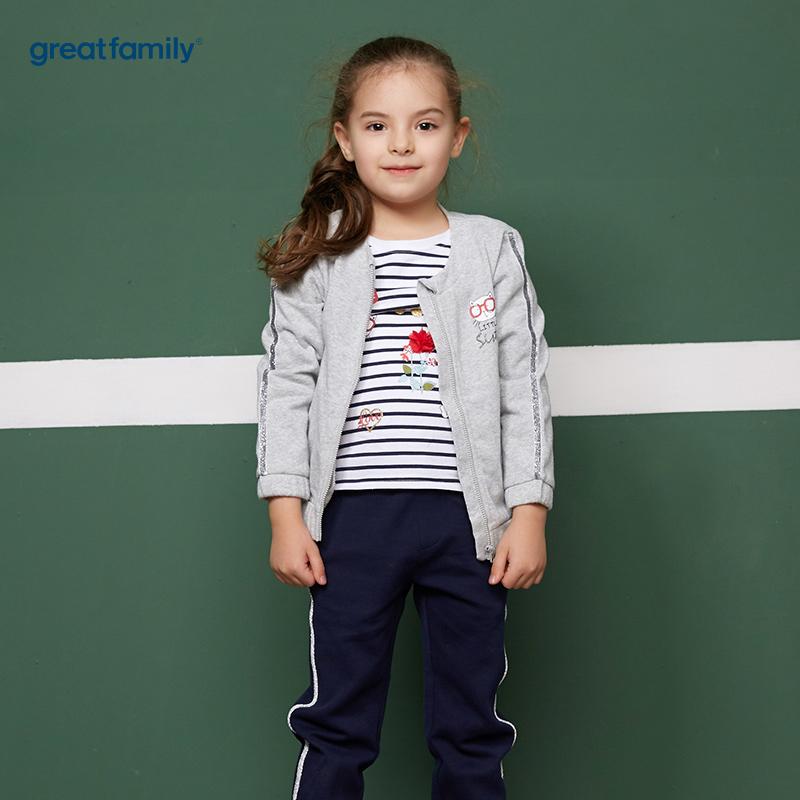 歌瑞凯儿(新)A类酷帅宝贝灰色女童针织外套
