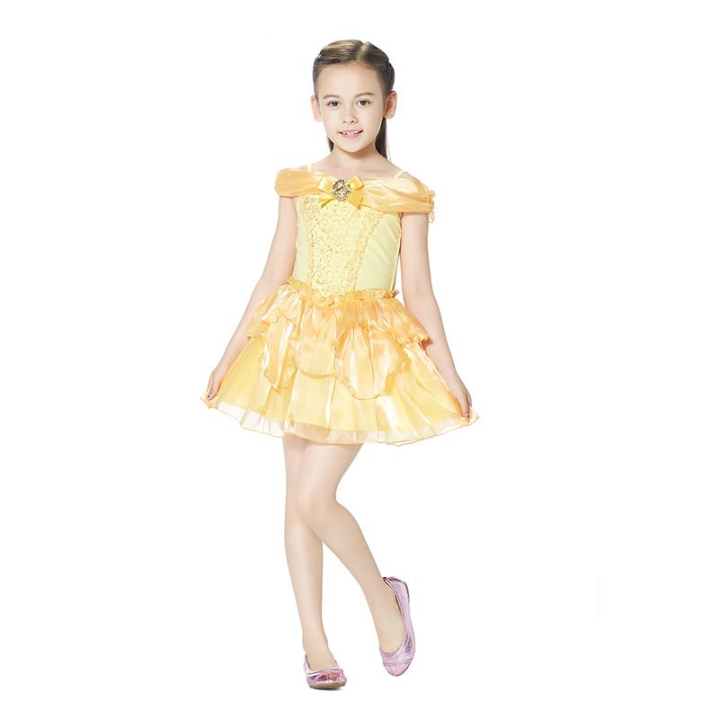 迪士尼贝儿公主连衣裙香蕉黄