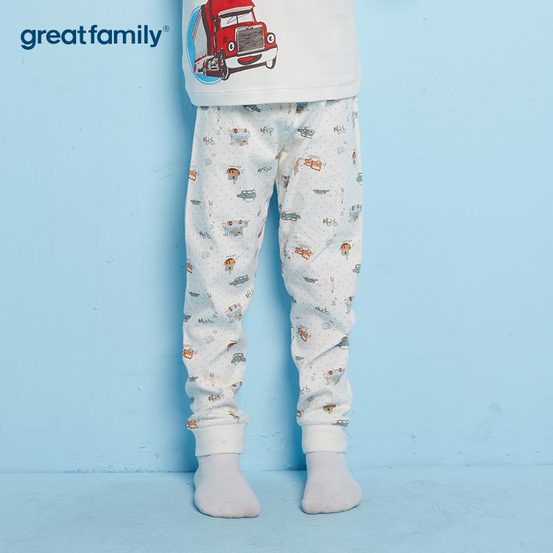 歌瑞家A类双面布男童白色家居长裤