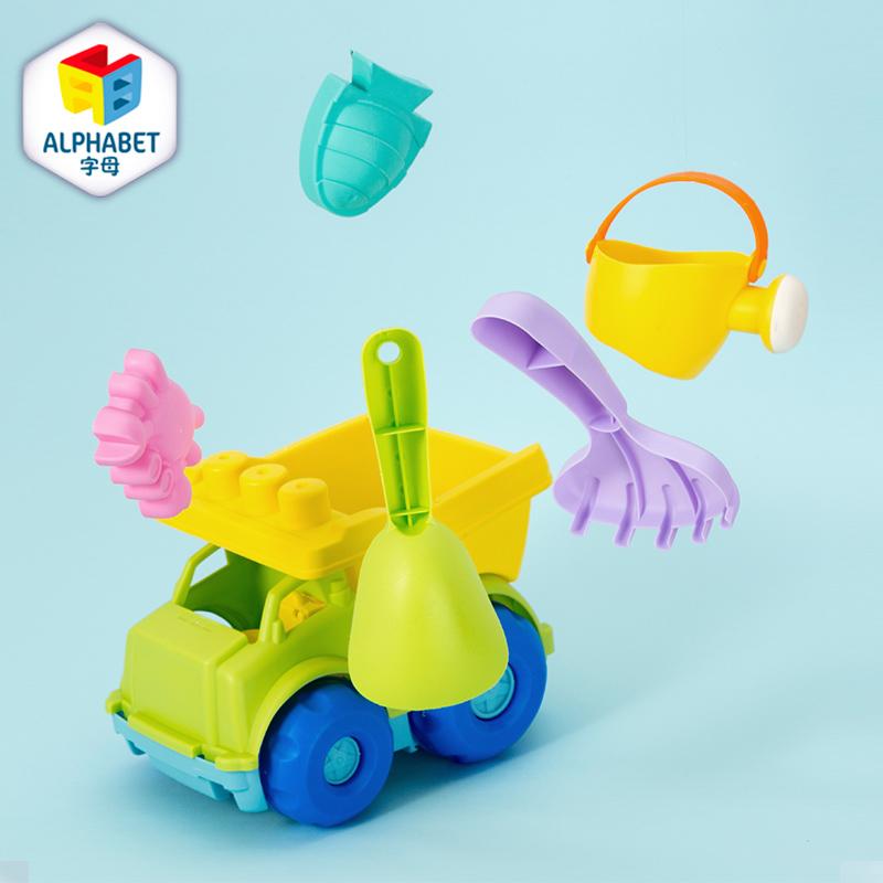 字母ALPHABET沙滩玩具六件套(软胶翻斗车)浅绿