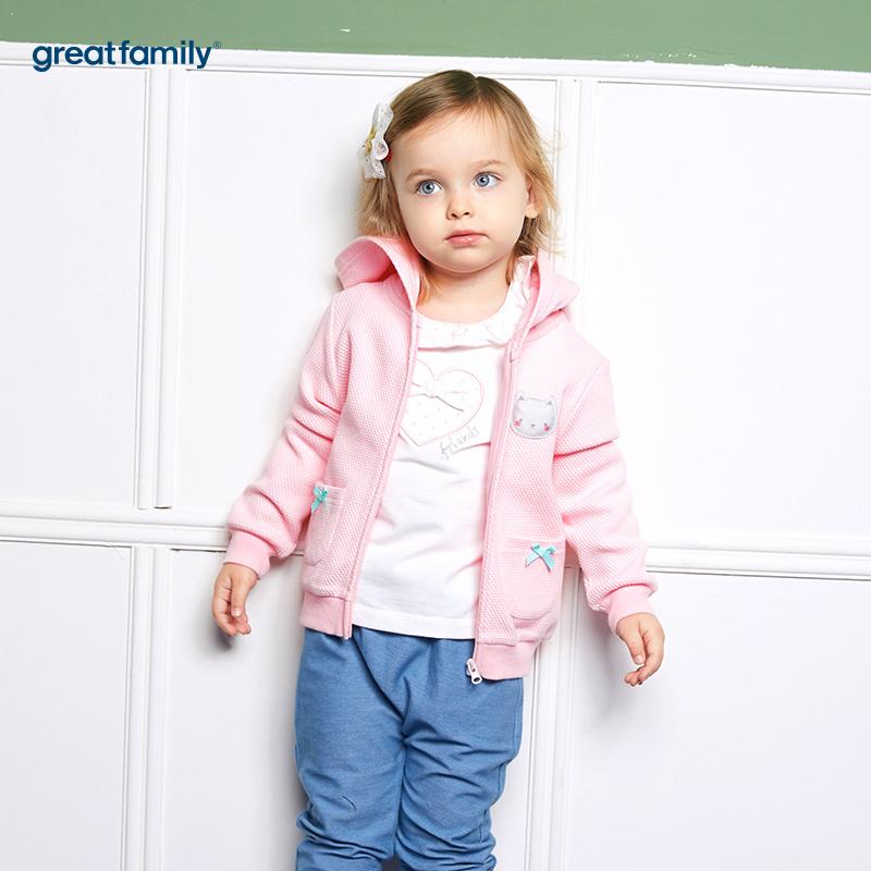歌瑞家(婴外)A类萌动精灵粉色女提花布外套