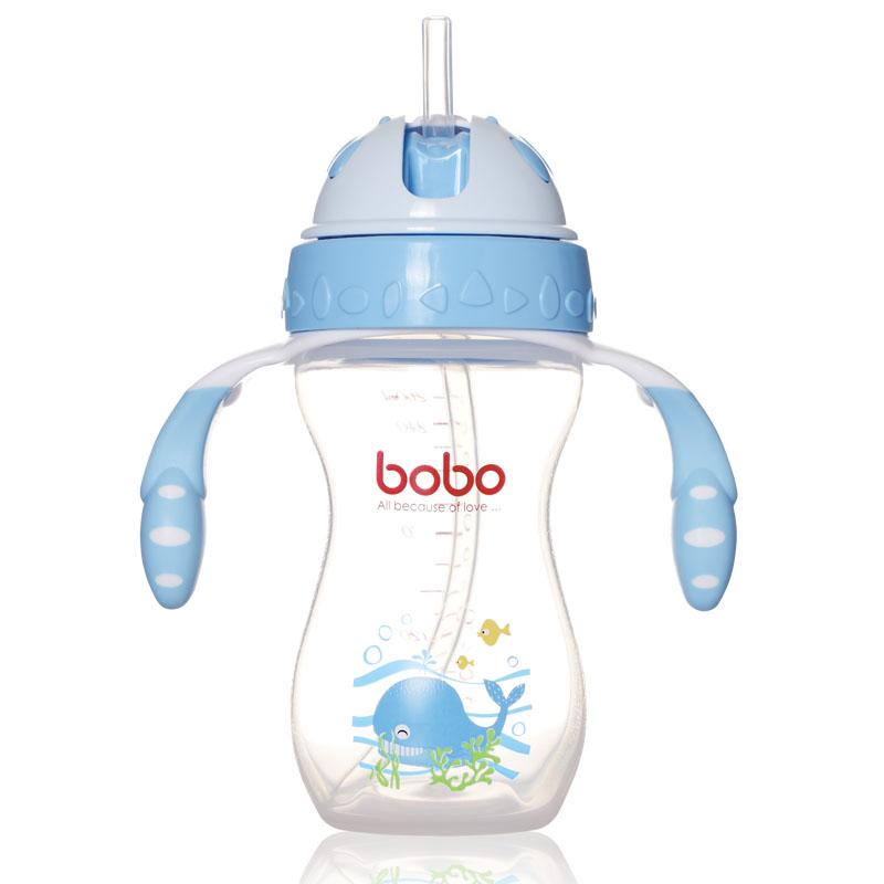 乐儿宝BOBO瓶两用学饮杯260ml不漏杯盖易握设计可配奶嘴做奶瓶