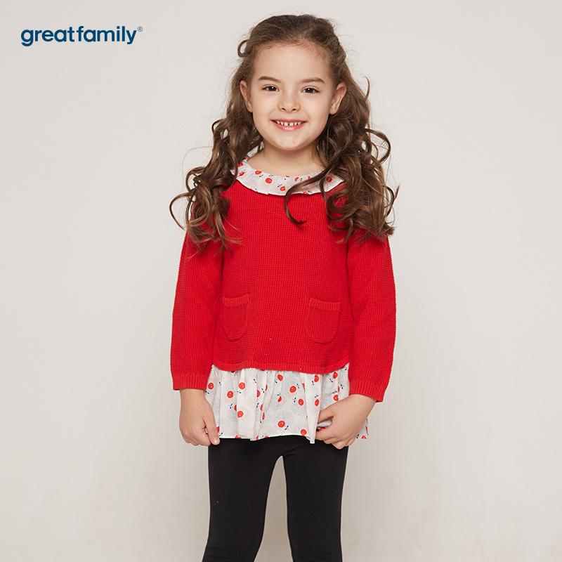 歌瑞凯儿(新)A类新年系列红色女童长袖连衣裙
