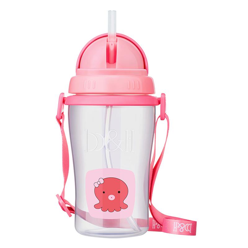 瑞士宝琪智多星儿童水壶带背带PP材质郊游壶400ML粉色八爪鱼