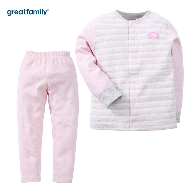 歌瑞家(Greatfamily)A类女童混色舒绒对襟套装/家居套装