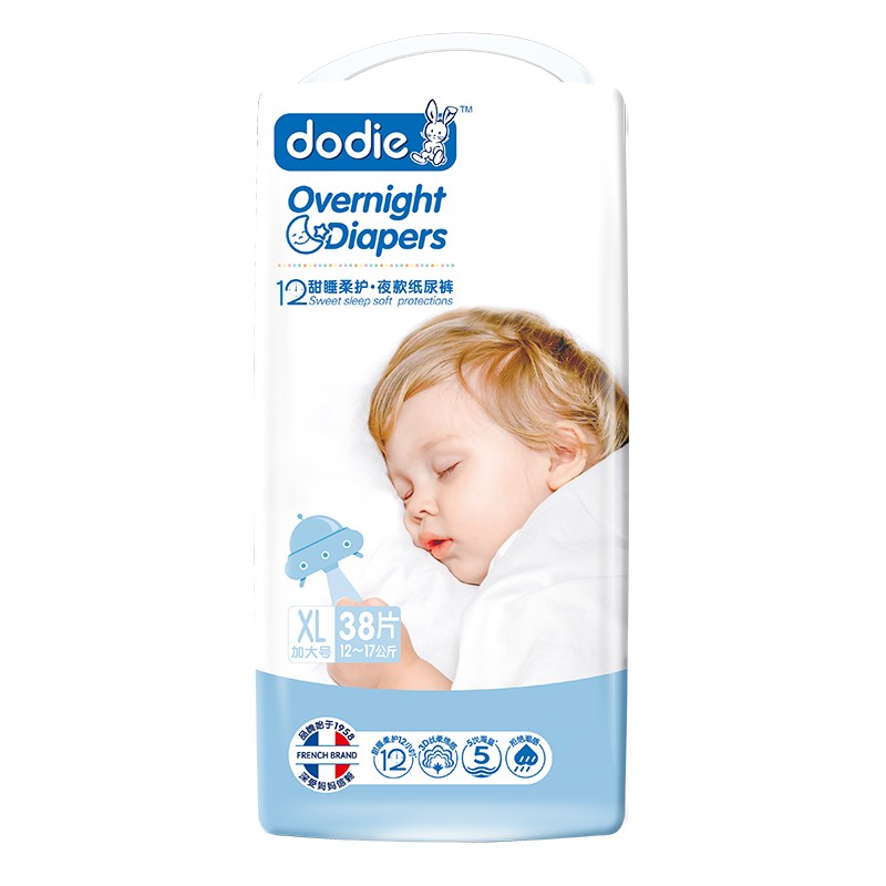 Dodie甜睡柔护·夜款婴儿纸尿裤XL38片