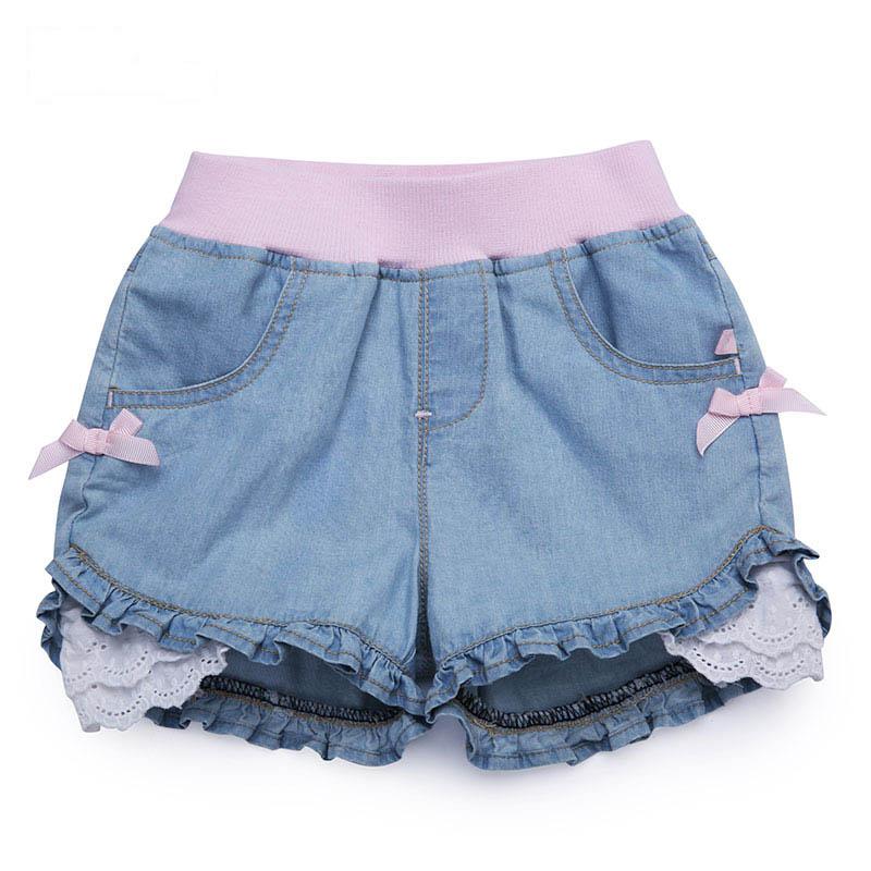 歌瑞家夏季A类纯棉女宝宝蓝色牛仔短裤