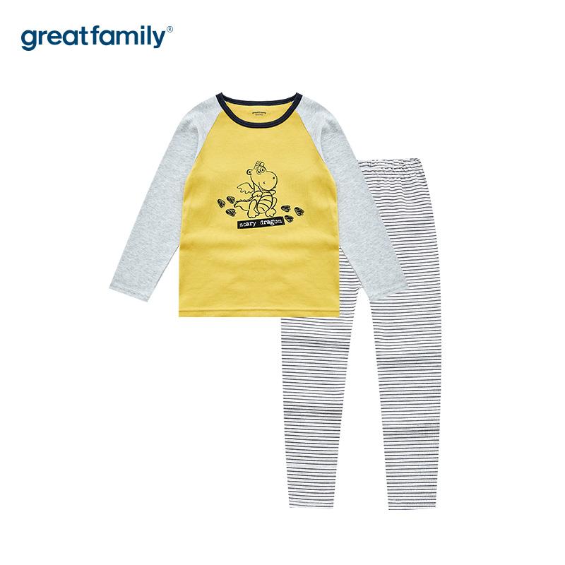 歌瑞家A类双面布男女童黄色圆领长袖套装