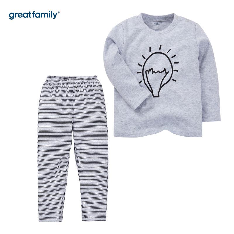 歌瑞家(Greatfamily)A类双面布纯棉男童花灰色上衣卡通线条图案灰色条纹裤子圆领套装/家居套装