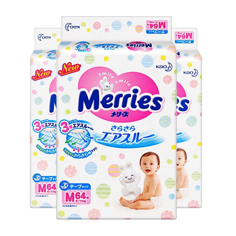 Merries日本原装纸尿裤M(6-11kg)三包组合装