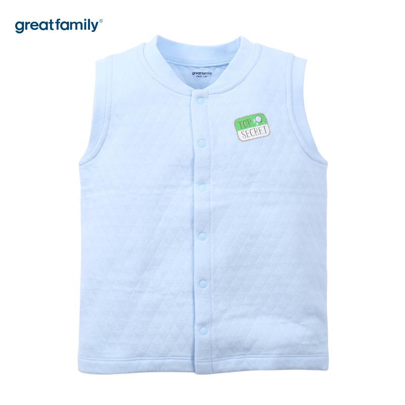 歌瑞家(Greatfamily)A类男童蓝色三保暖立领马甲
