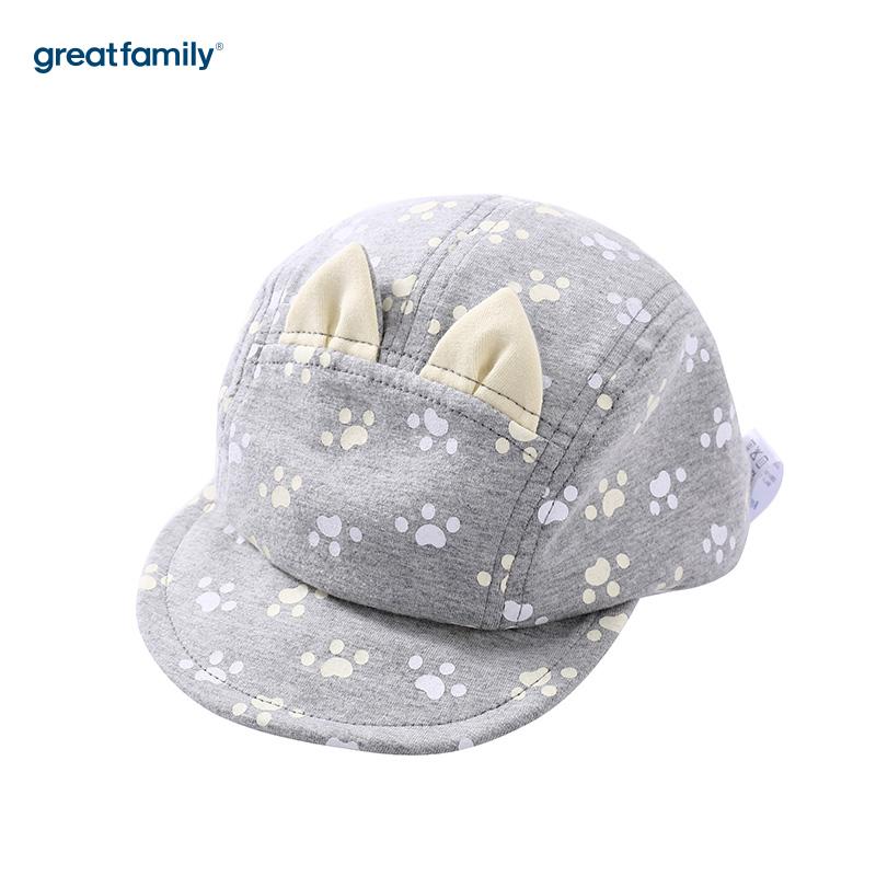 歌瑞家A类男童灰色软檐帽遮阳帽儿童帽子