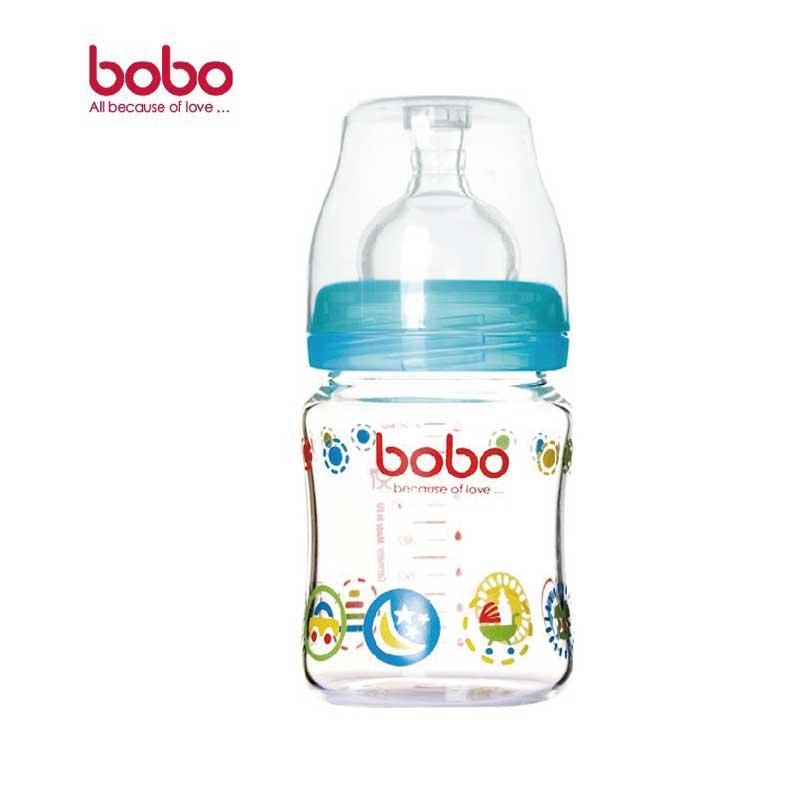 乐儿宝BOBO新生优晶宽口玻璃奶瓶160毫升宽口径小流量蓝色
