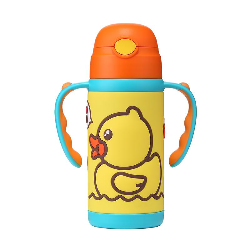 小黄鸭B.Duck软胶两用保温杯420ml(黄色)一杯两用