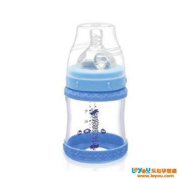 贝儿欣Babisil4安士宽口径玻璃奶瓶120ml连温感保护环