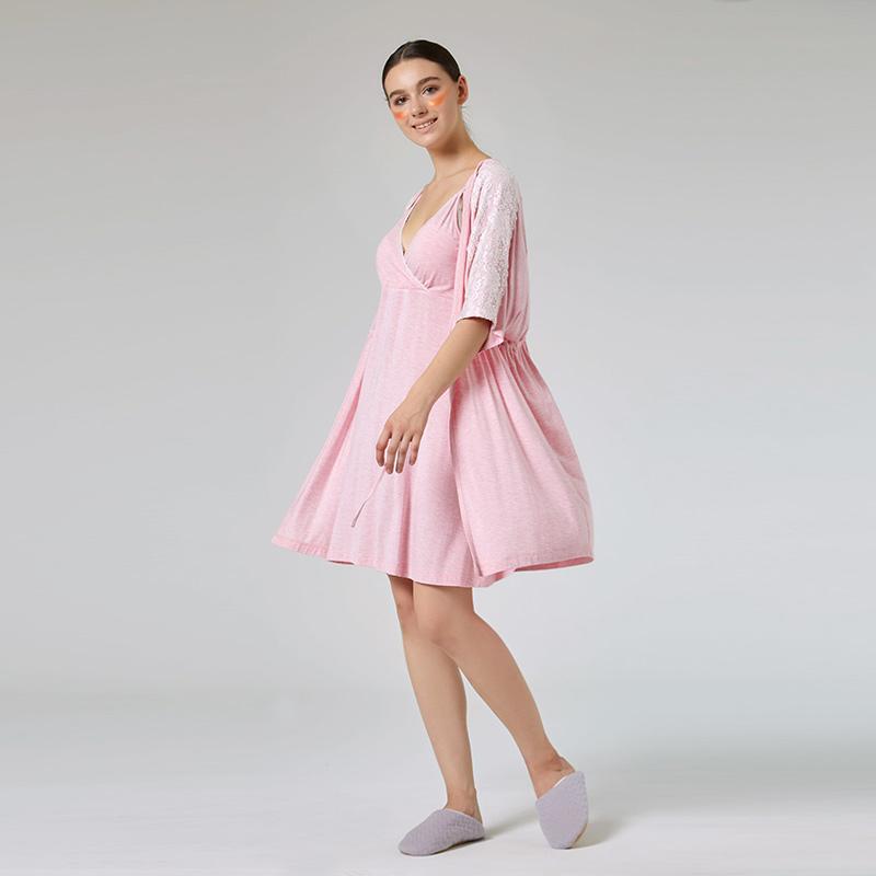 歌瑞家彩棉两件套家居哺乳裙