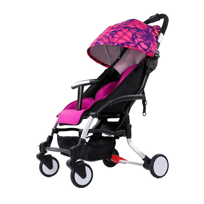 Pouch智能刹车婴儿推车高景观可坐可躺避震手推车婴儿车电动收车明日都市(枚红色)