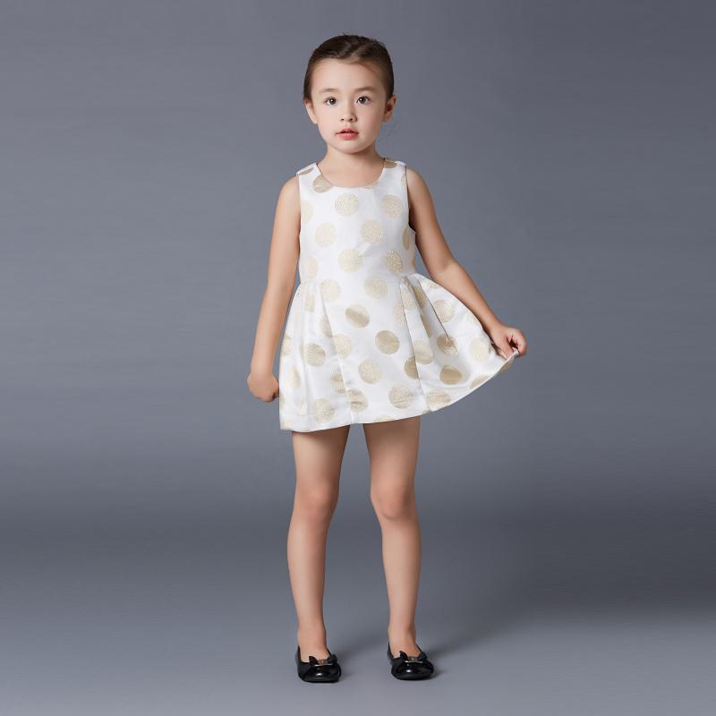 歌瑞家(圣诞系列)女童梭织提花礼服裙金色