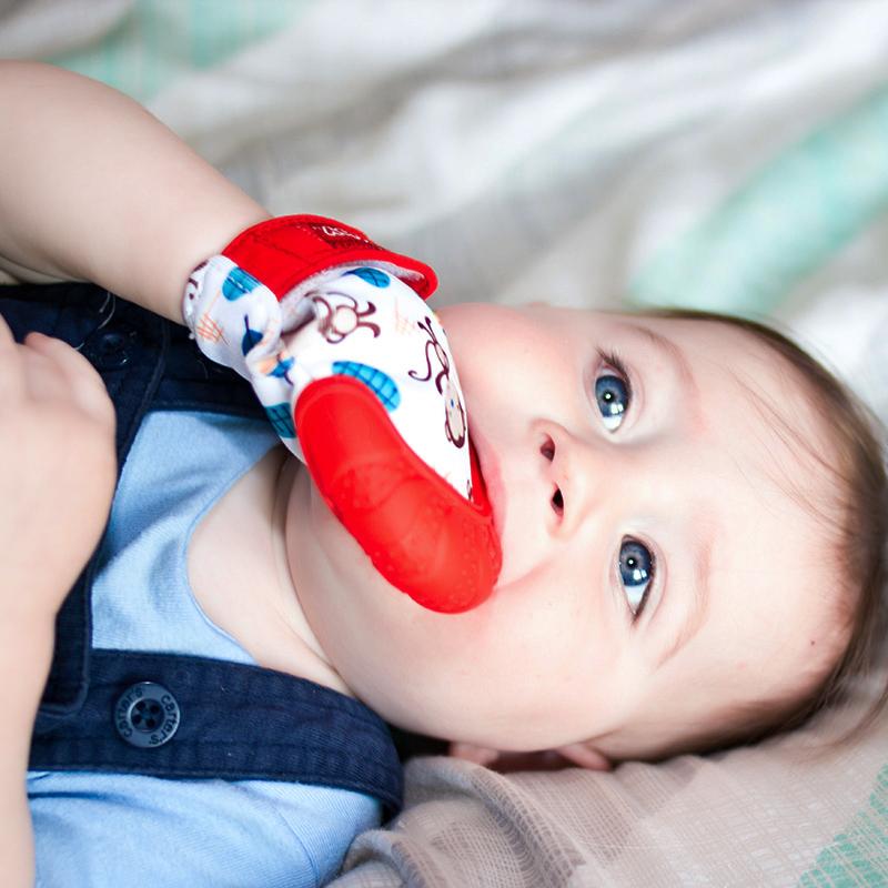 美国Nuby可爱手套牙胶(红)