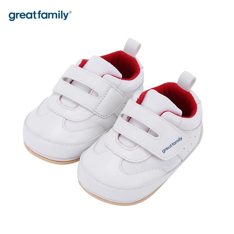 歌瑞家(greatfamily)中性百搭宝宝鞋GBS3-003SH白12CM双