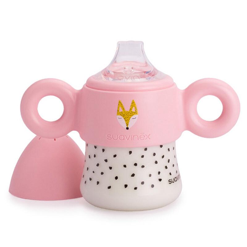 suavinex苏维妮 HELLO FOX系列一段宝宝学饮杯鸭嘴杯儿童水杯训练杯 蓝色小狐狸150ml 3303781Z