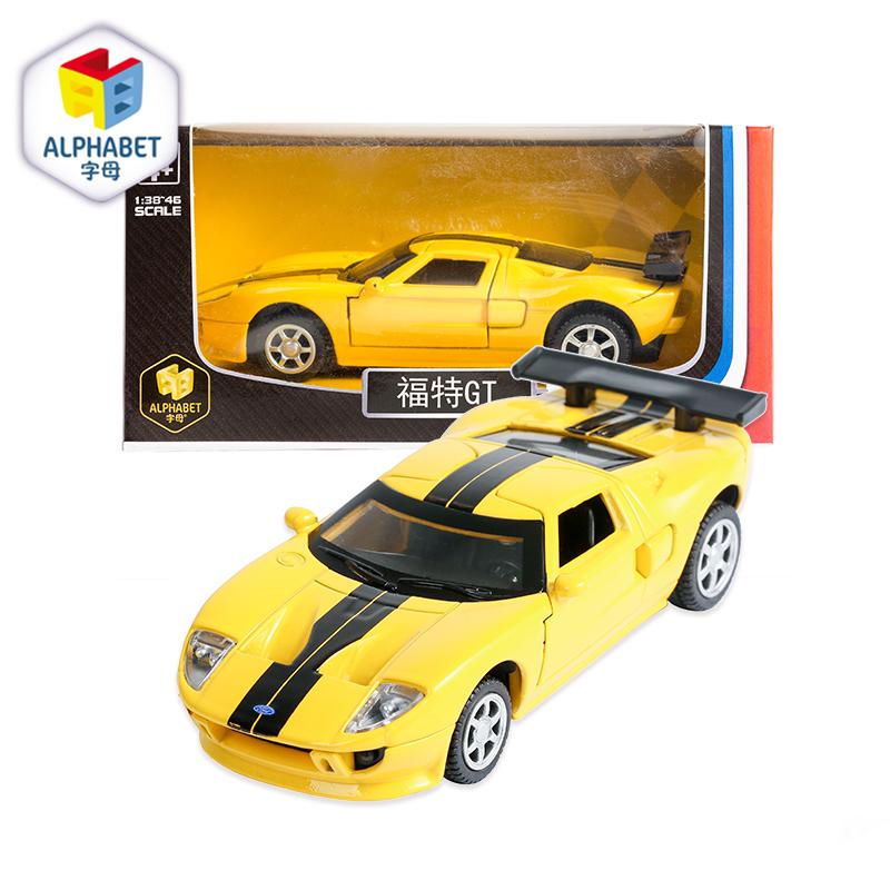 字母ALPHABET合金车(1:43福特GT 黄色)