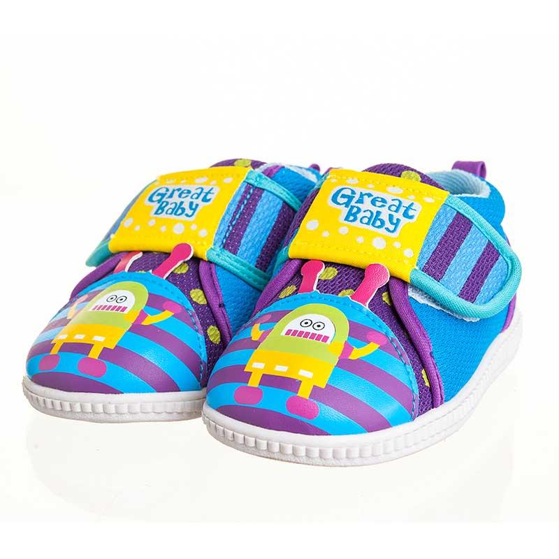 歌瑞贝儿(新)--机器人叫叫鞋(男婴儿鞋)GB143-009SH蓝13.5CM