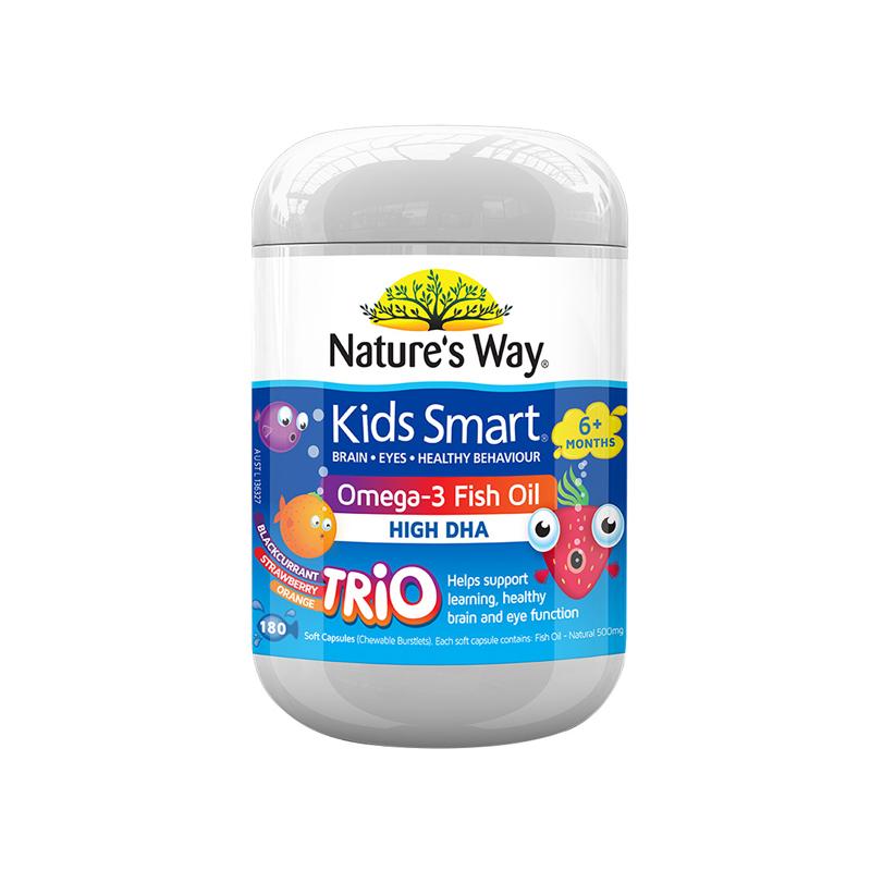【乐海淘】澳洲佳思敏KidsSmart儿童DHA益智深海鱼油胶囊180粒水果口味保税区发货