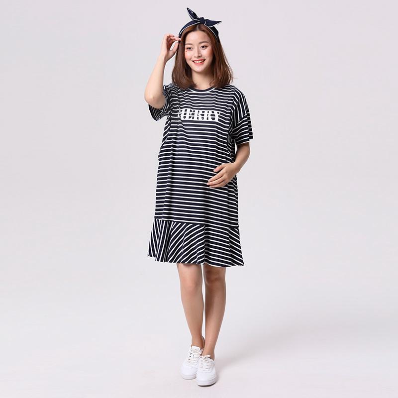 歌瑞家greatfamily(孕外装)韩版哺乳裙蓝