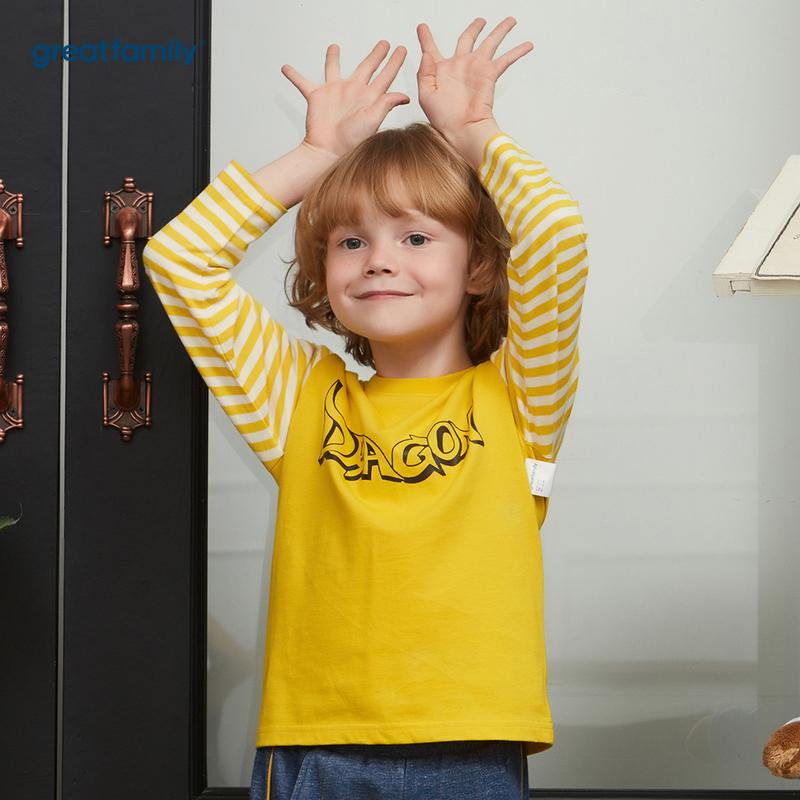 歌瑞家A类可爱精灵黄色男长袖T恤