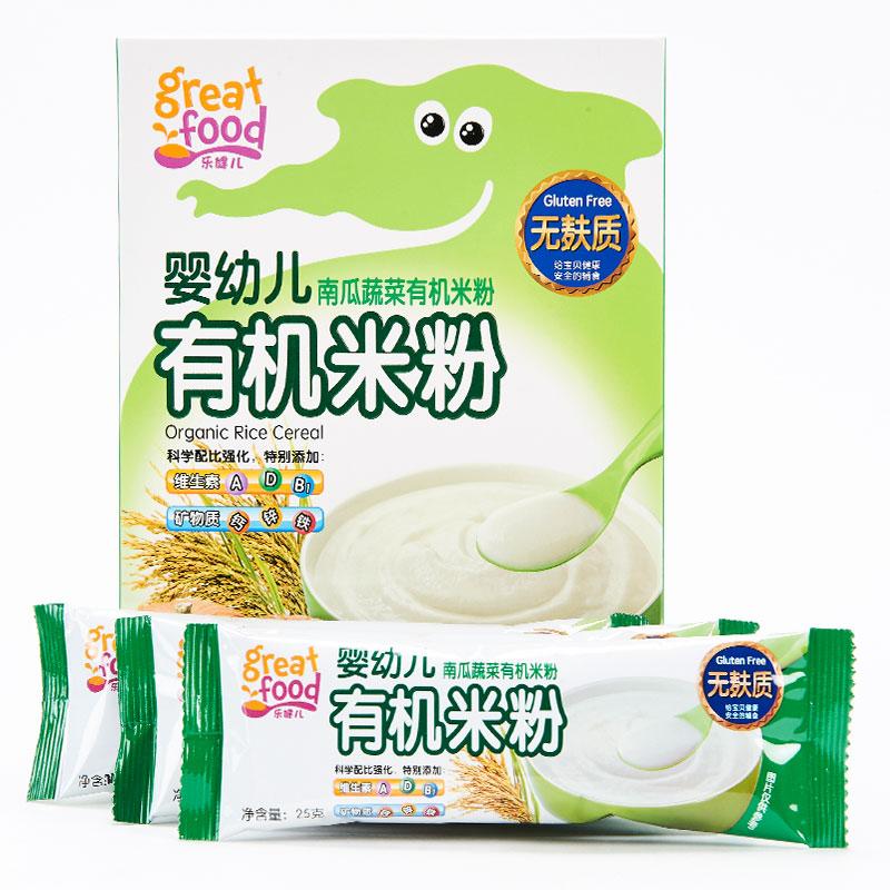 乐健儿GreatFood南瓜蔬菜有机米粉(无麸质)225克6-36月