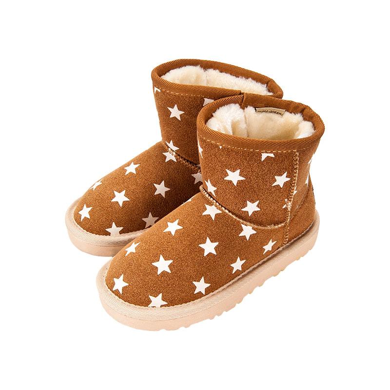 歌瑞家童满天星雪地靴咖色