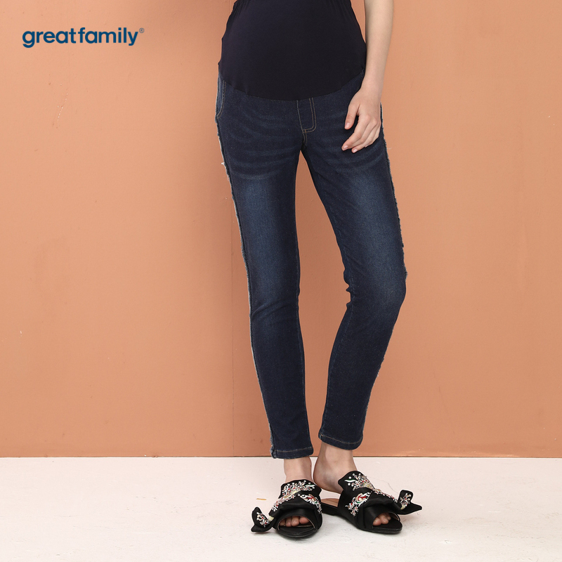 歌瑞家孕外蓝色女牛仔裤