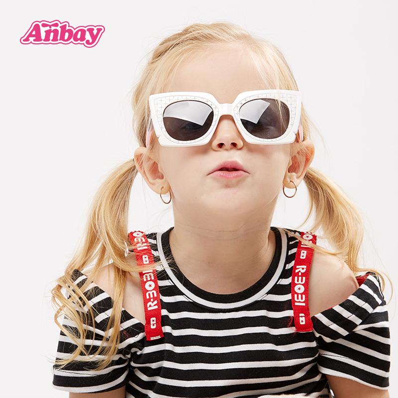 安比女童白色儿童太阳镜