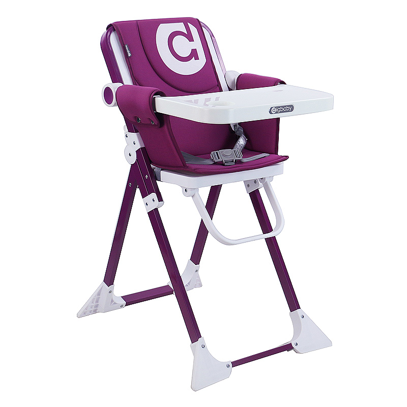 圣得宝儿童餐椅多功能宝宝餐椅可躺可折叠便携式MINI概念餐椅-紫色(大号)