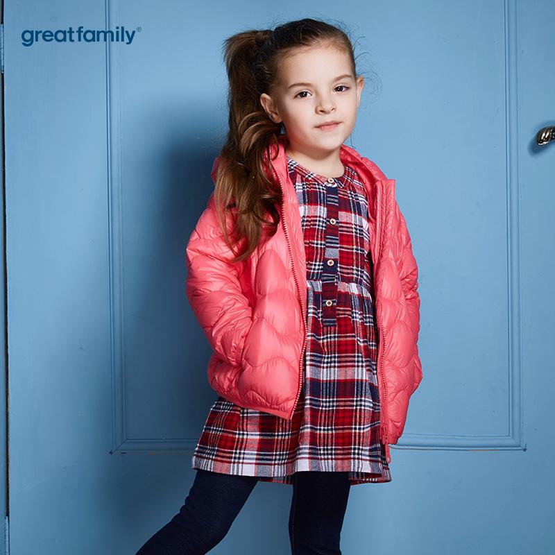 歌瑞家(Greatfamily)A类经典校园男童红色轻薄柔软白鸭绒连帽羽绒服