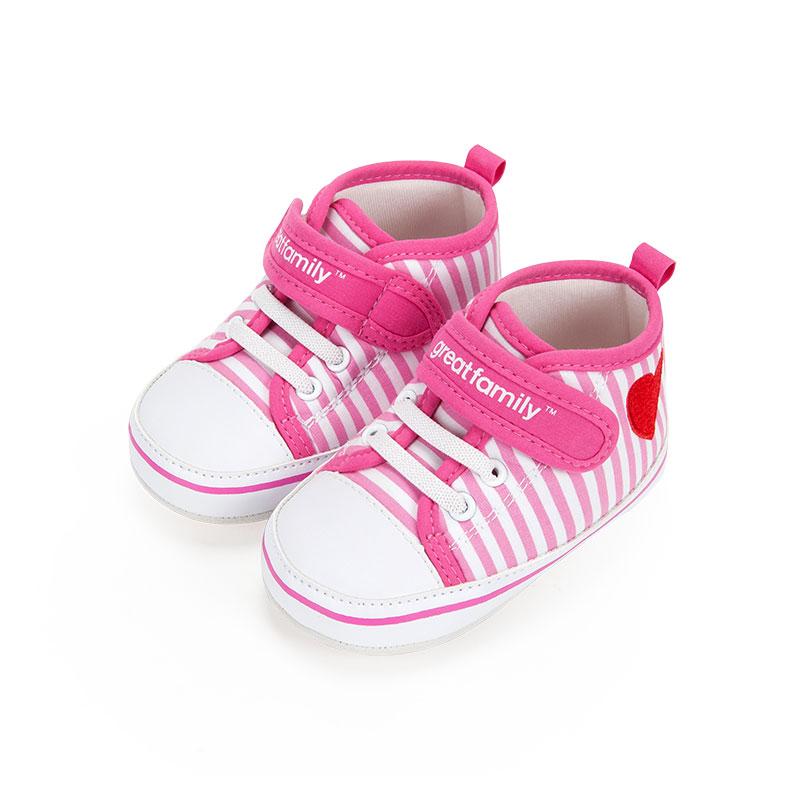 歌瑞家女婴条纹宝宝鞋粉